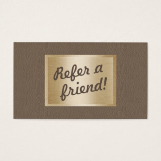 Referral Card | Classy Brown Leather & Gold Label