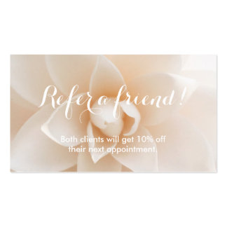 Referral Card Classy White Floral Background