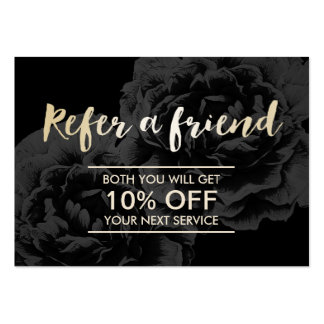 Referral Card | Elegant Dark Floral Gold Script
