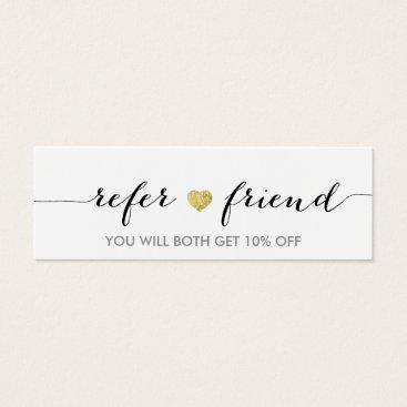 Valentines Themed Referral Card | Elegant Minimal Gold Heart Elegant