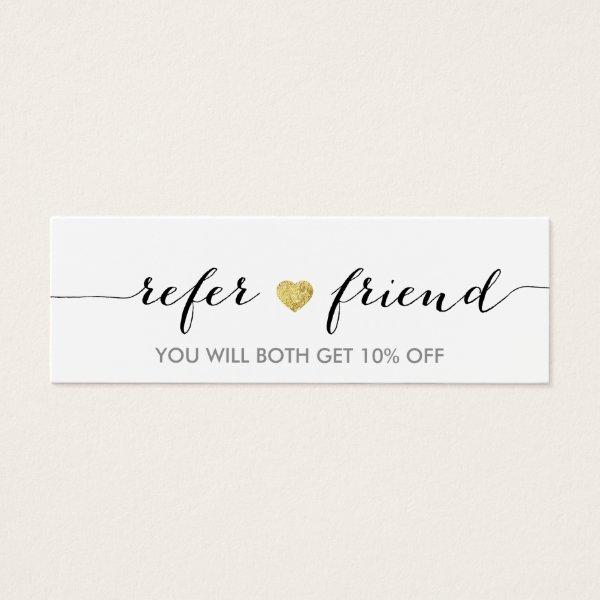 Referral Card | Elegant Minimal Gold Heart Elegant