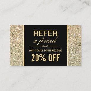 Funky business cards templates zazzle referral card funky gold glitter beauty salon colourmoves