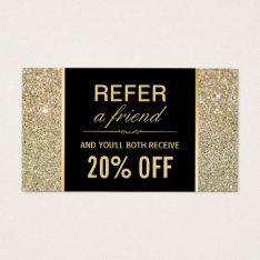 Referral Card Funky Gold Glitter Beauty Salon at Zazzle