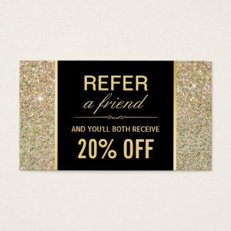Referral Card Funky Gold Glitter Beauty Salon