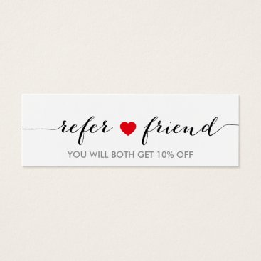 Valentines Themed Referral Card   Minimalist Simple Red Heart Script
