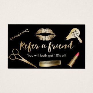Referral Card | Modern Black & Gold Beauty Salon