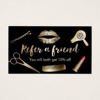 Referral Card | Modern Black & Gold Beauty Salon