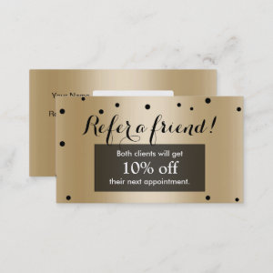Referral Card | Modern Black & Gold Confetti Dots