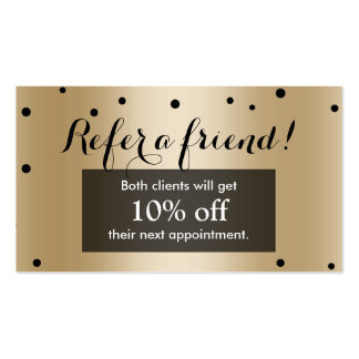 Referral Card | Modern Black & Gold Confetti Dots Double-Sided Standard Business Cards (Pack Of 100)
