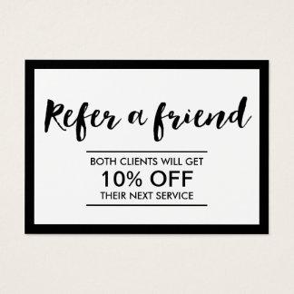 Referral Card | Modern Black & White Simple Frame
