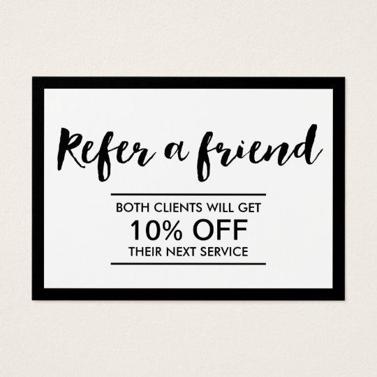 Referral Card | Modern Black U0026amp; White Simple Frame