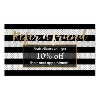 Referral Card | Modern Black & White Stripes