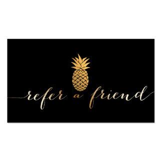 Referral Card   Modern Gold Script & Pineapple