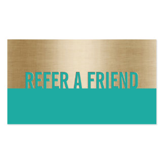 Referral Card | Modern Gold & Turquoise Classy