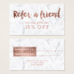 Referral Card Modern Rose Gold Typography Marble at Zazzle