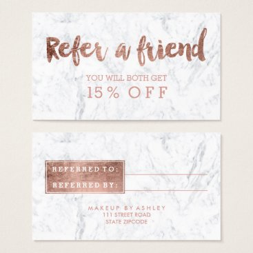 girly_trend Referral card modern rose gold typography marble