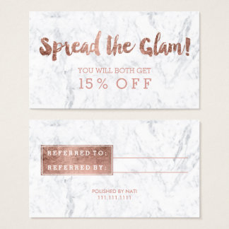 Referral card modern rose gold typography marble 2