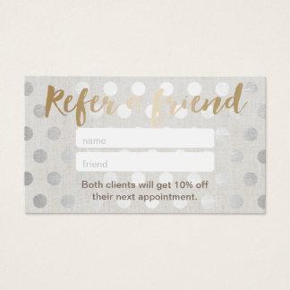 Referral Card | Modern Silver Dots Hair Salon