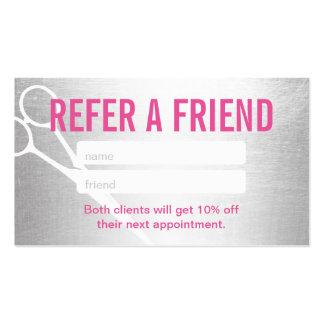 Referral Card | Modern Silver & Pink Scissor Hair Business Card