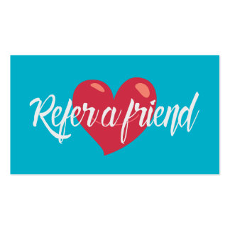 Referral Card Red Heart Modern Turquoise Business Card