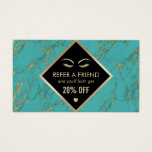 Referral Card Trendy Turquoise Gold Marble Salon