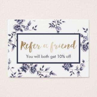 Referral Card | Vintage Blue Floral Beauty Salon