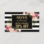 "Referral Card Vintage Gold Floral Beauty Salon<br><div class=""desc"">================= ABOUT THIS DESIGN ================= Referral Card Vintage Gold Floral Beauty Salon with Black and White Stripes Look - Discount Coupon Card Template. (1) If you need any customization or matching items, please contact me. (2) You can find matching products (e.g. Business Card, Appointment Card, Flyer, Rack Card, Loyalty Card,...</div>"