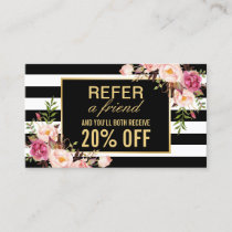 Referral Card Vintage Gold Floral Beauty Salon