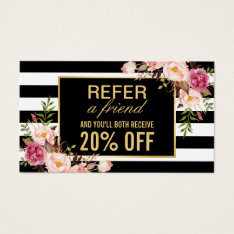 Referral Card Vintage Gold Floral Beauty Salon at Zazzle