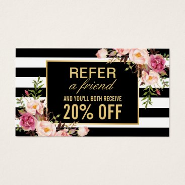 CardHunter Referral Card Vintage Gold Floral Beauty Salon