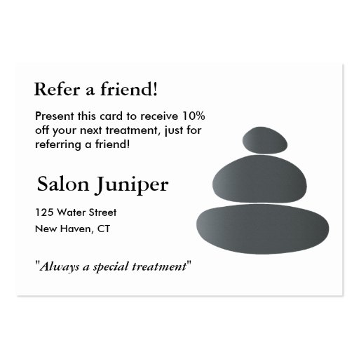 Referral Card with Balancing Stones Business Card Templates