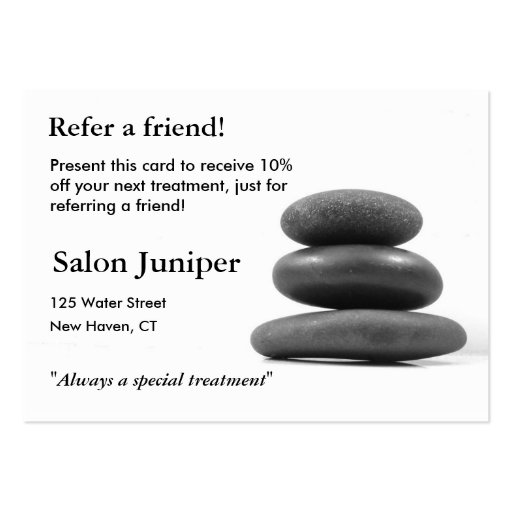 Referral Card with Balancing Stones Business Card Template (front side)