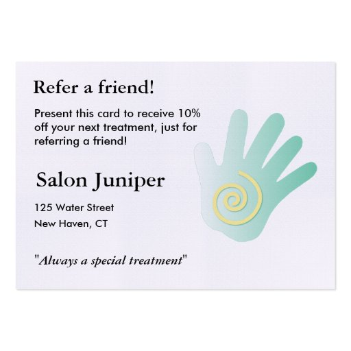 Referral card with massage hand zazzle for Zazzle referral cards
