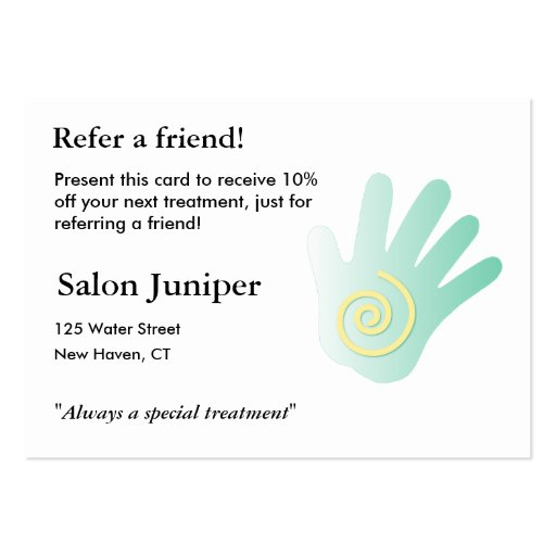 Referral Card with massage hand Business Card Template
