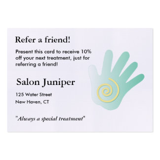 Referral Card with massage hand Large Business Card