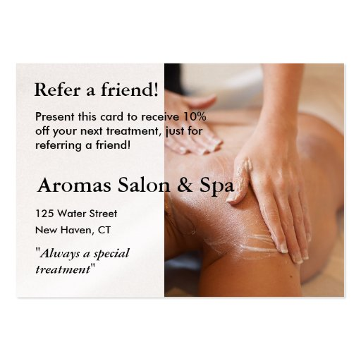 Referral Card with massage hands Business Cards