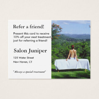 Referral Card with outdoor massage table