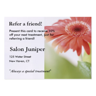Referral Card with pink gerbera daisy