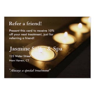 Referral Card with votive candles Business Card Templates