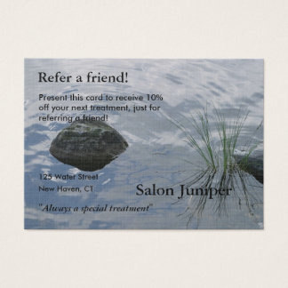Referral Card with water and stones