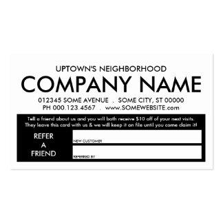 referral rewards program business card