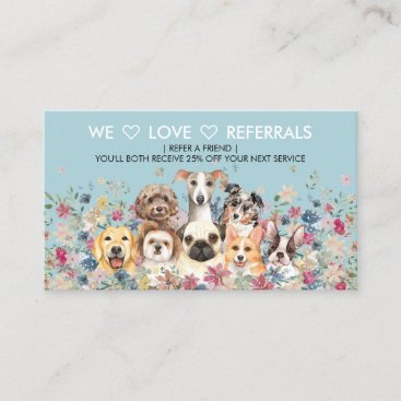 Referrals for Dog Walker Sitting Grooming Service Business Card