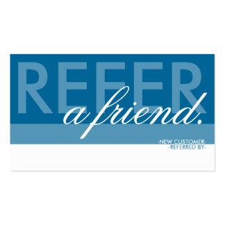refiera a un amigo sobrepuesto tarjetas de visita