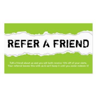 refiera un rasgón de la página del amigo (el perso tarjeta de visita