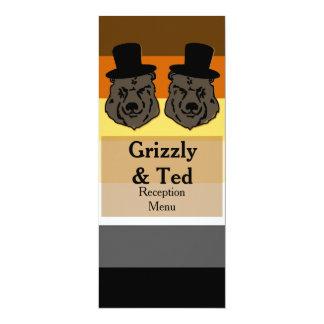 Refiere la tarjeta del menú de la bandera del oso invitación 10,1 x 23,5 cm