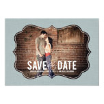 "Refined Elegance Photo Save The Date - Blue 5"" X 7"" Invitation Card"