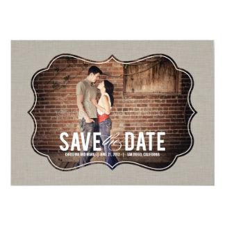 "Refined Elegance Photo Save The Date - Khaki 5"" X 7"" Invitation Card"