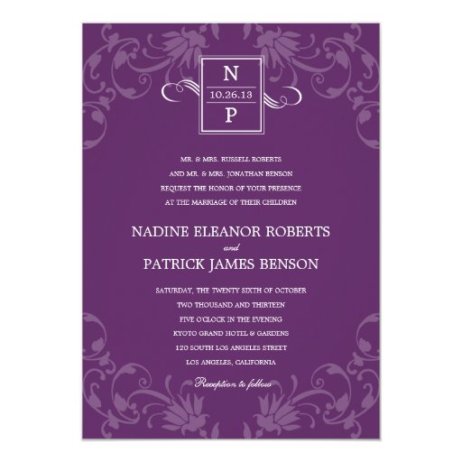 "Refined Elegance Wedding Invitation - Purple 5"" X 7"" Invitation Card"