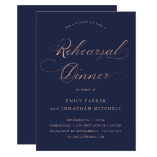 Refined | Faux Rose Gold on Navy Rehearsal Dinner Card