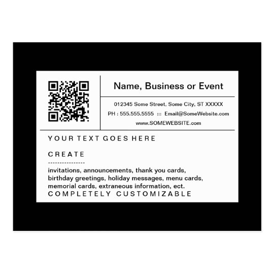 refined QR code : black and white Postcard